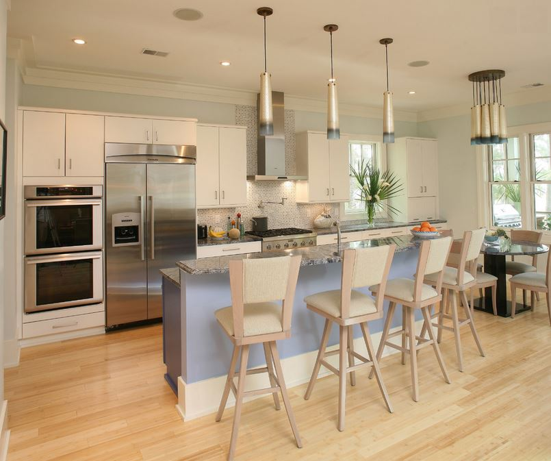 Bamboo flooring in a bright kitchen