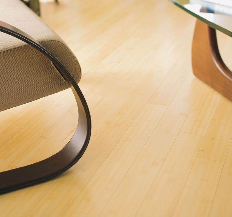Bamboo flooring in a natural finish