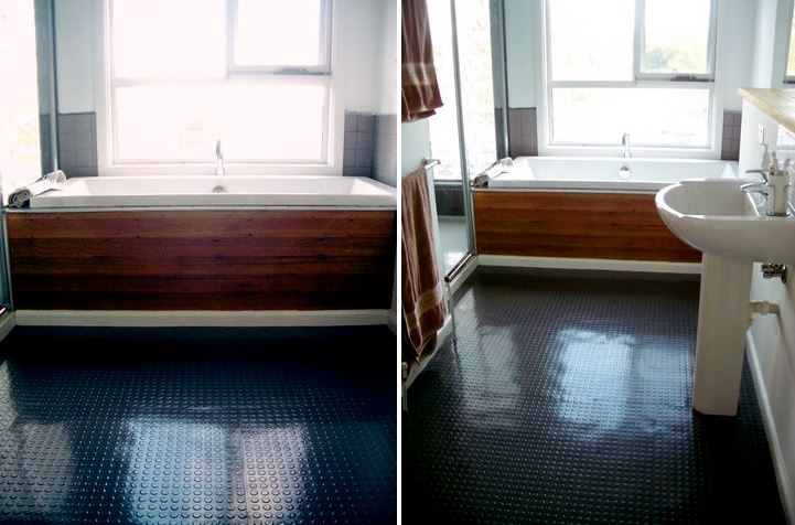 Bathroom with Dalsouple rubber flooring
