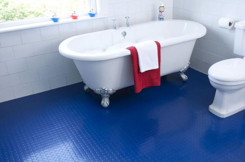 view in gallery bathroom with blue rubber flooring - Dining Room Flooring Options