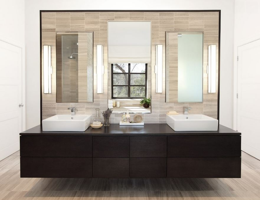 Modern bathroom with dark wooden accents