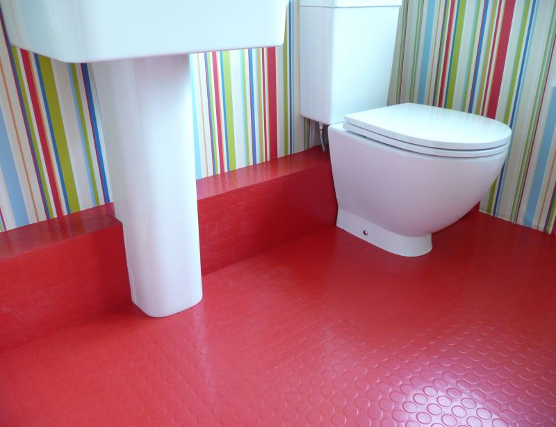 view in gallery bathroom with red rubber flooring