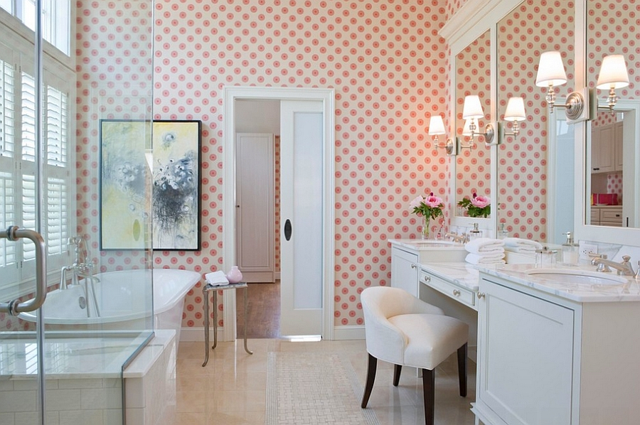 Beach style bathroom in Boston with cool wallpaper [By: Terrat Elms Interior Design]