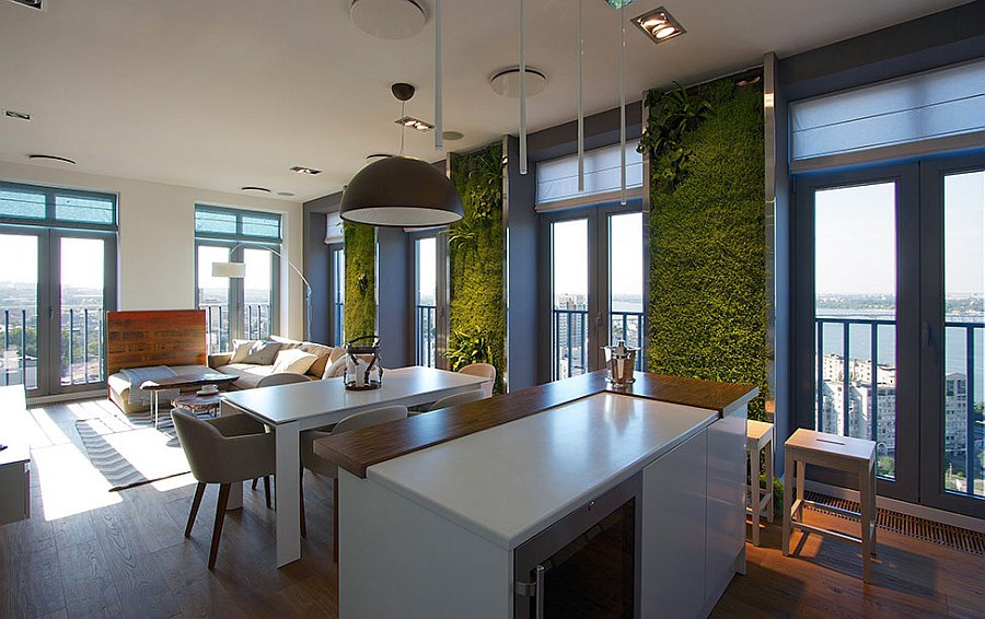Beautiful green wall fetaure gives the home a refreshing appeal