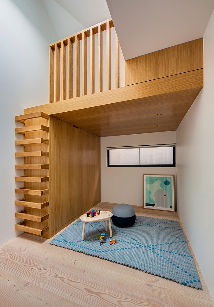 Beautiful kids' playroom makes use of vertical space
