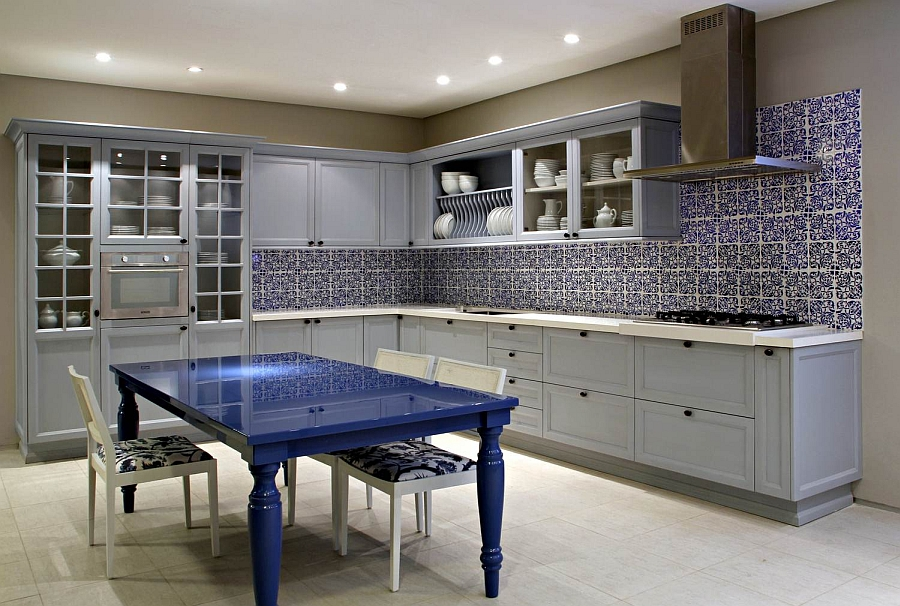 Beautiful tiled backsplash and bright dining table in the kitchen
