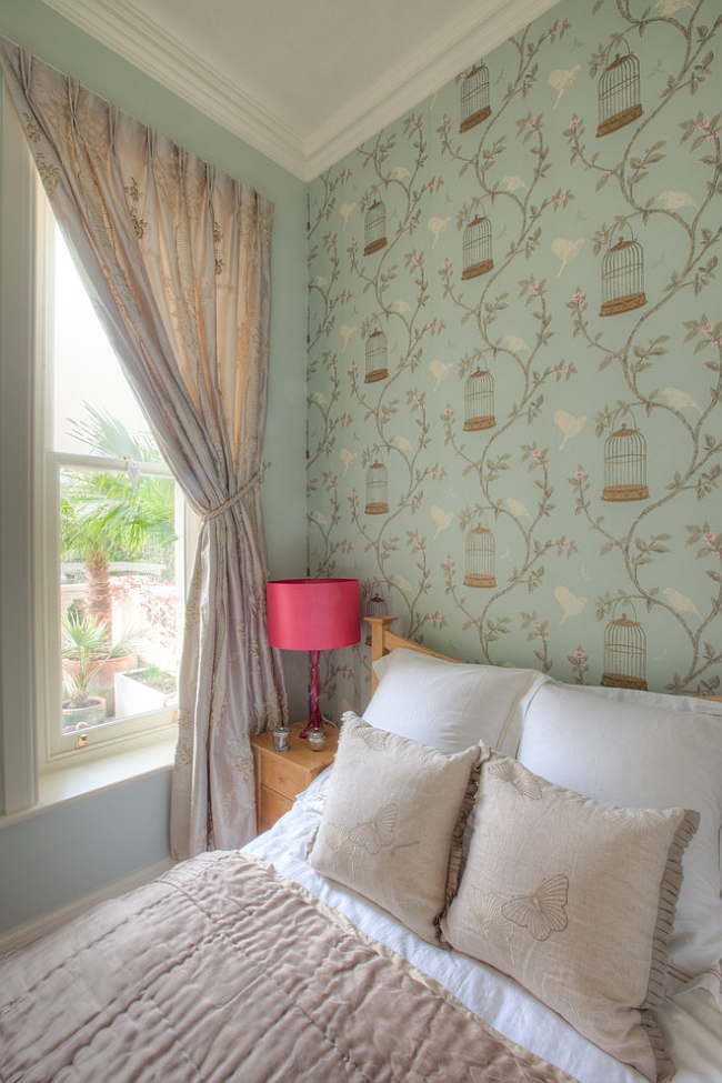 Birdcage Walk wallpaper in the chic bedroom [Design: Furnished by Anna]