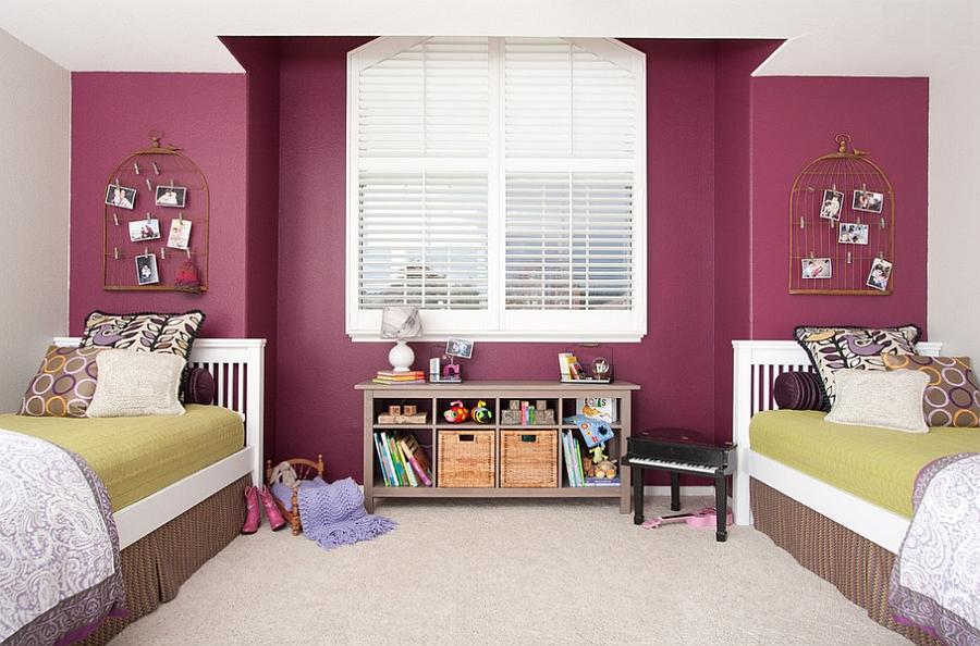 Birdcages used as wall decor in the kids' bedroom [Design: Jennifer Bishop Design]