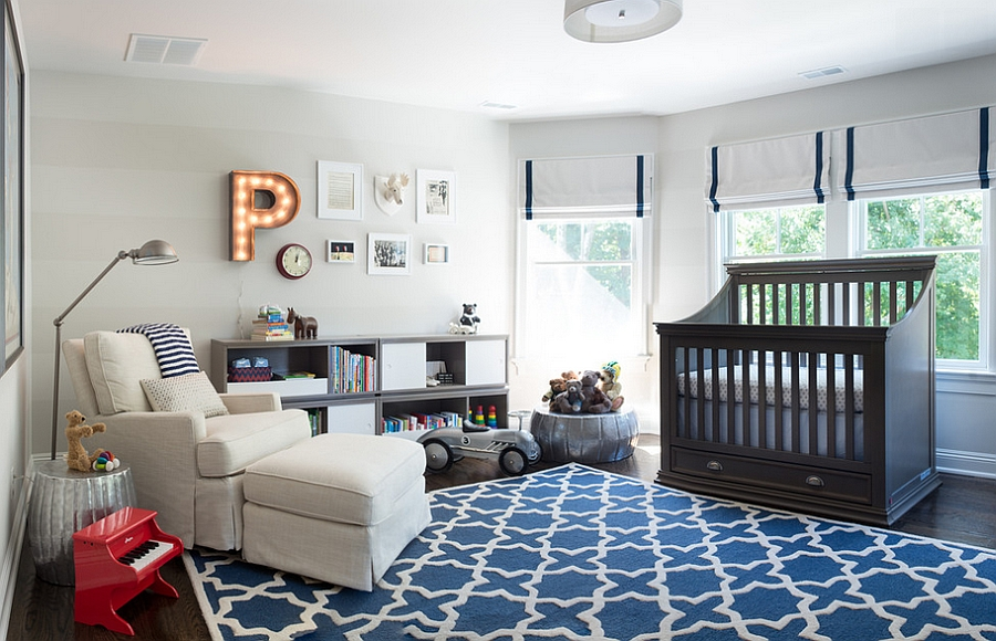 Blue and gray used to shape the gorgeous nursery [From: Kas Arts Photography]