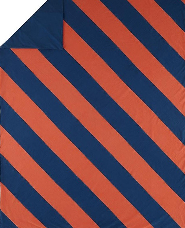 Blue and orange diagonal-striped bedding