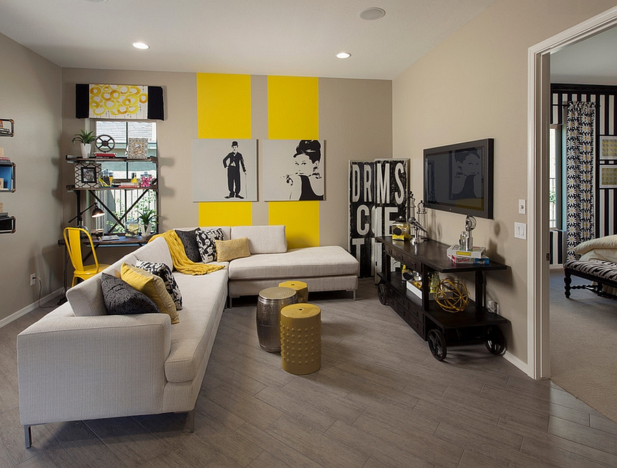 Bold and innovative use of stripes in the living room [Design: Meritage Homes]