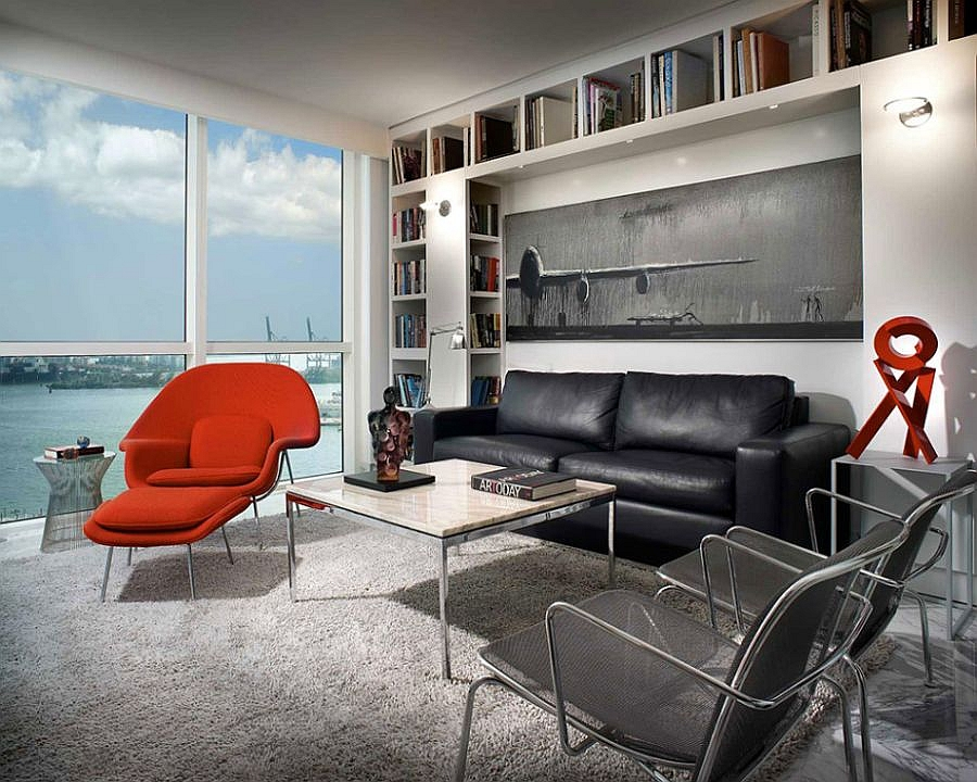 Bold use of red in the family room