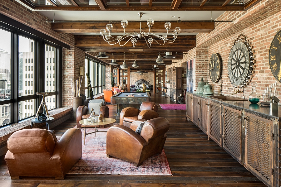 Brick walls add to the ambaince of the NYC home