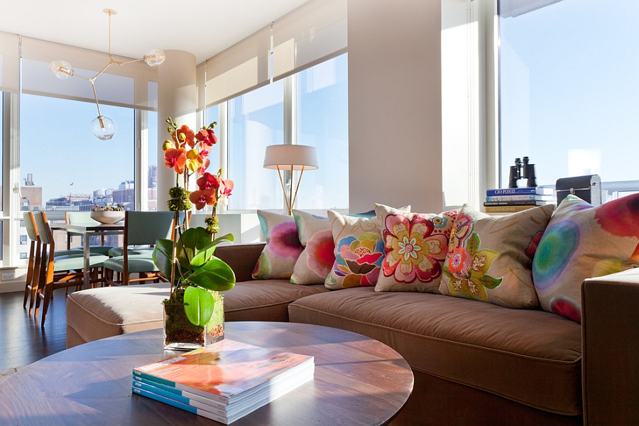 Bright colors and flowery patterns give the home a cheerful appeal