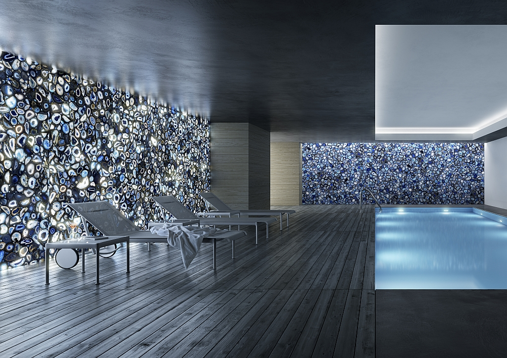 Brilliant blue agate natural stone turns the indoor pool into a stunning spectacle