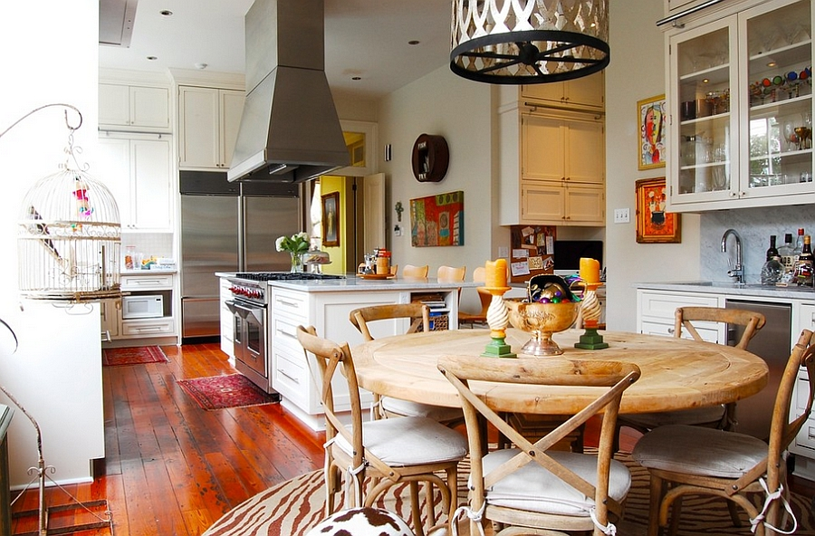 Bring the birdcage into the eclectic kitchen [Photography: Corynne Pless]