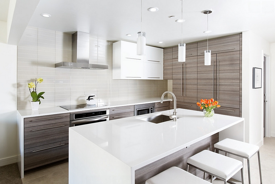 Caesarstone countertop accentuates the contemporary style of the kitchen