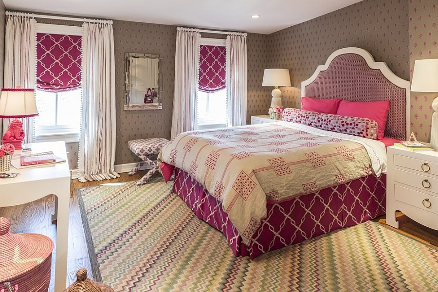 Carpet and drapes enhance the color sheme of the room