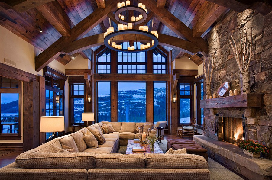 Chalet style living room has an imposing presence [Design: Locati Architects]