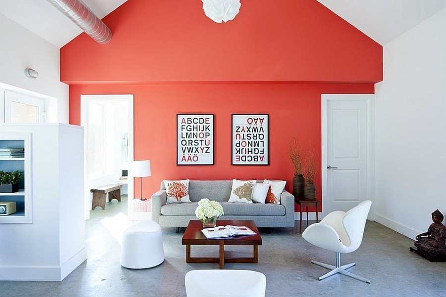 Cheerful living room with a splash of red [By: ZeroEnergy Design]