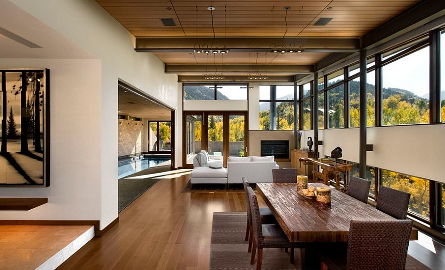 Chic Rustic living room with scenic views [From: 186 Lighting Design Group]