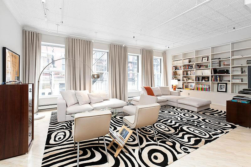Chic Soho style living room in black and white