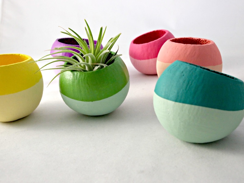 Colorblocked air plant pods from Sea and Asters The Top Trends In Modern Air Plant Containers