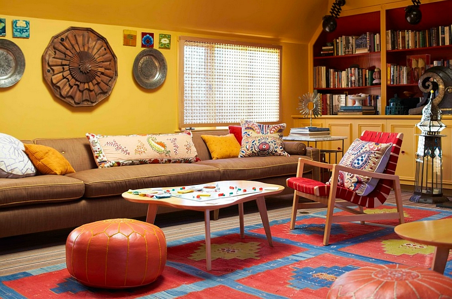 Colorful modern living room idea with midcentury vibe [Photography by Eric Piasecki]