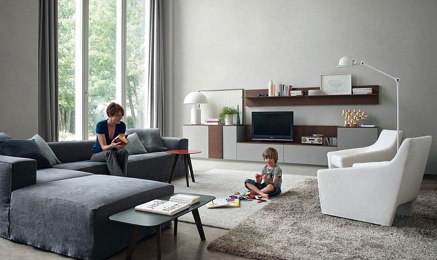 Combine twin armchairs with a plush sectional to complete your living room