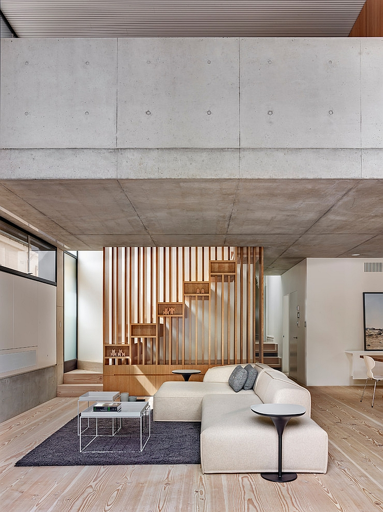 Concrete becomes an integral part of the interior and the exterior