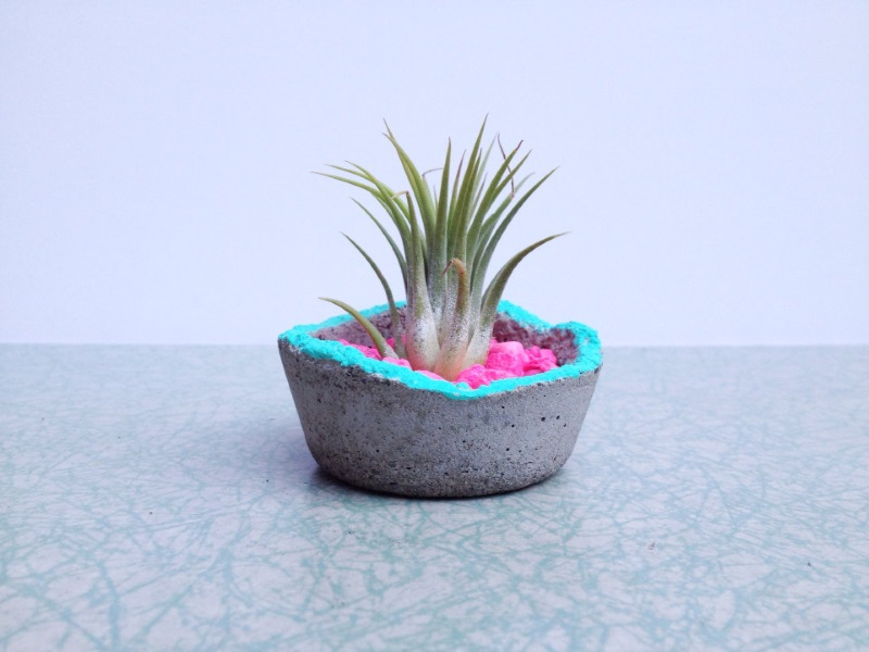 Concrete planter with neon accents by ReRunRoom