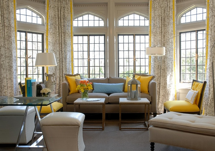 Contemporary New York living room in yellow and blue