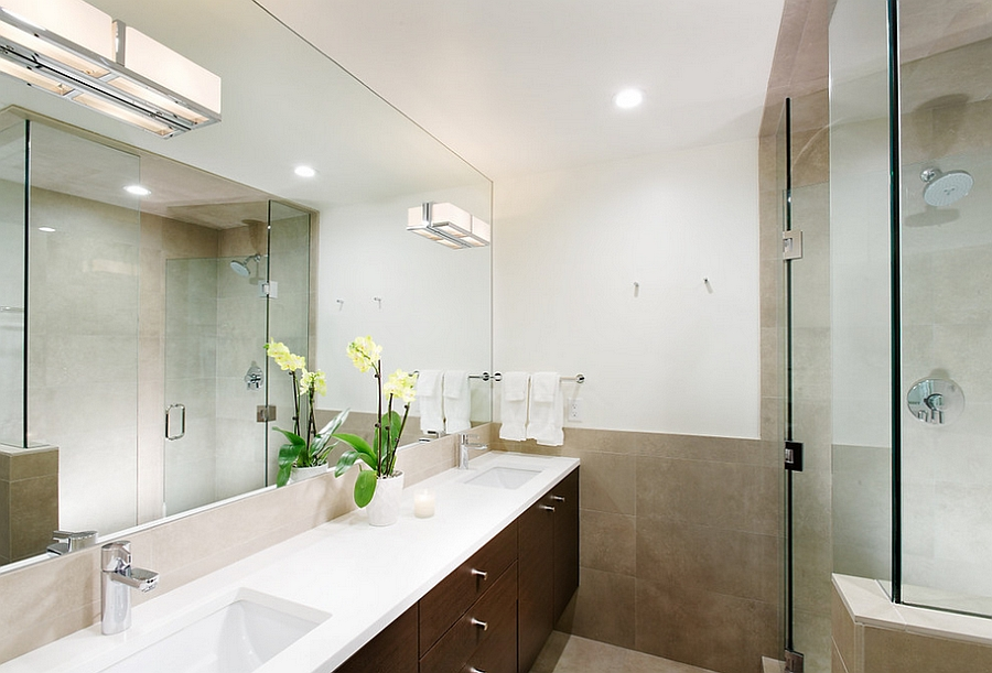 Contemporary bathroom makes smart use of limited space