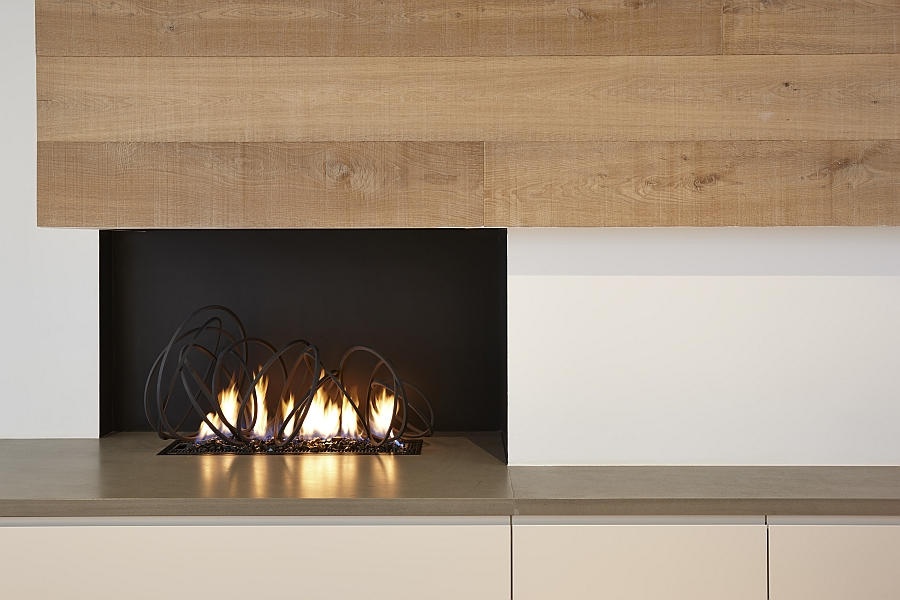 Contemporary fireplace with sculptural style from Cathy Azria Trendy Fire Sculptures Bring Sizzling Style To The Hearth