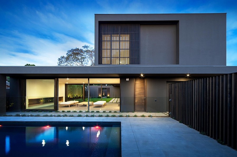 Contemporary home in Melbourne with a unique exterior and pool area