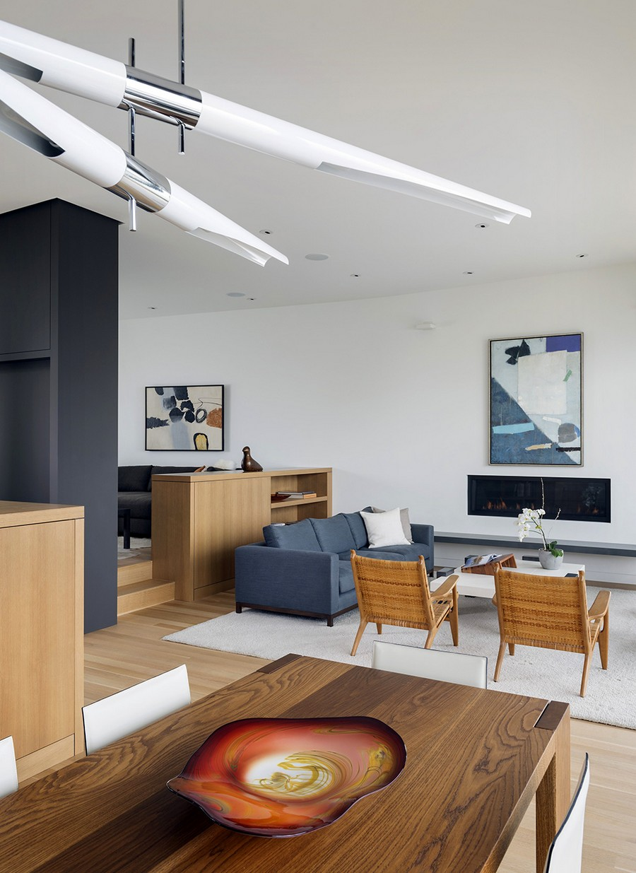 Contemporary interior with warm wooden tones