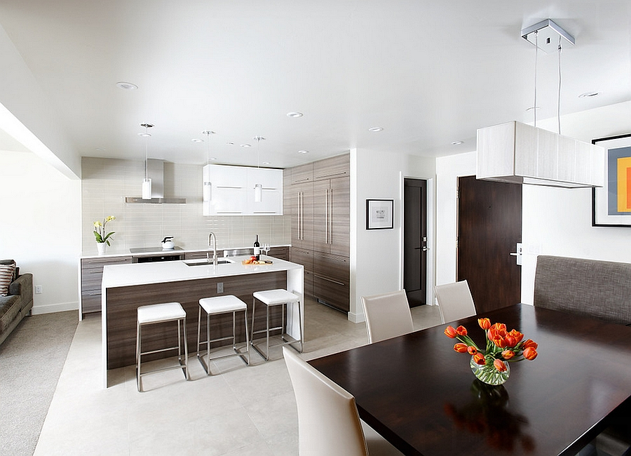 Contemporary kitchen and ining area in an open floor plan