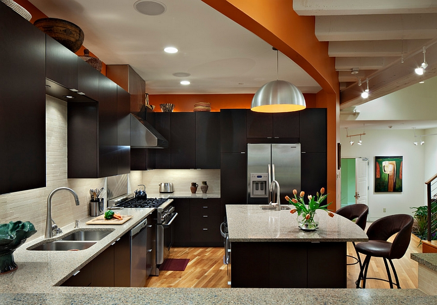Contemporary kitchen in orange and black