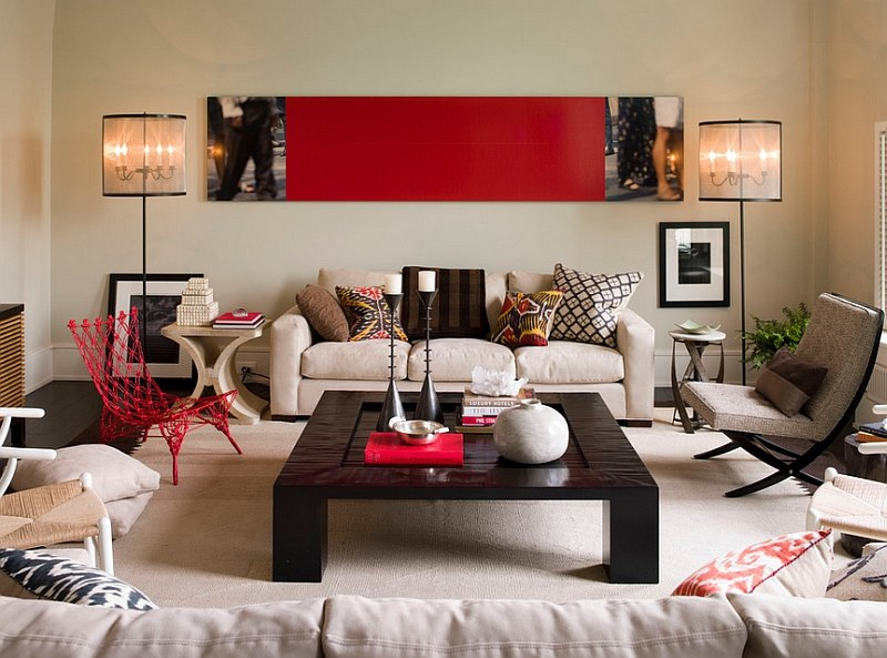 View In Gallery Contemporary Living Room With Smart Use Of Red Accents Design Thom Filicia