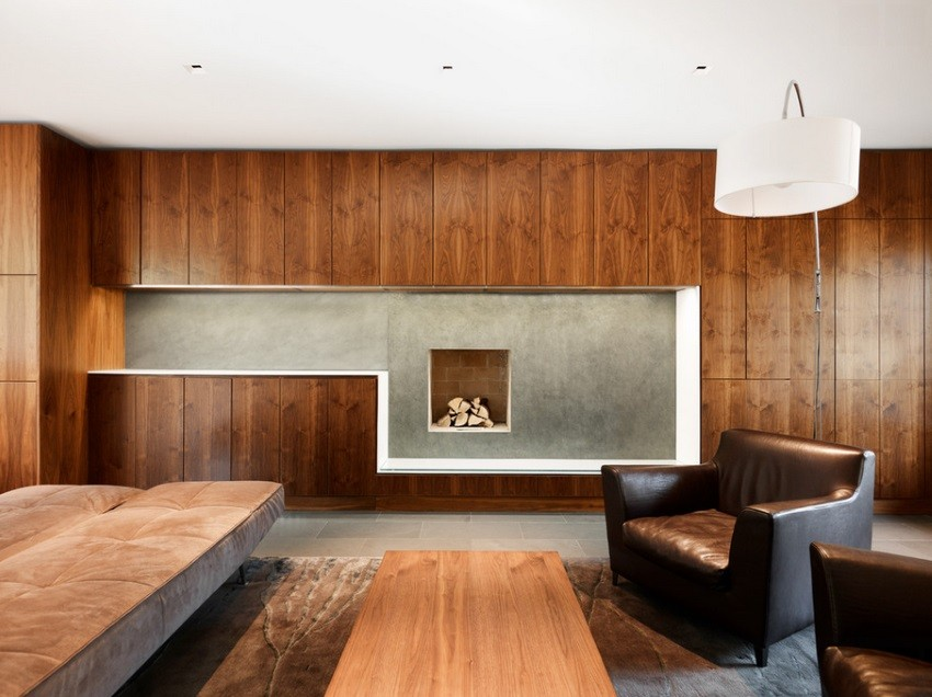 Contemporary living space with warm tones