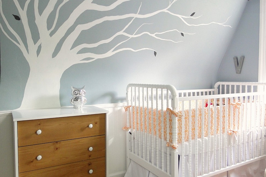 Cool color scheme for the modern nursery! [Design: Lauren Hufnagl]