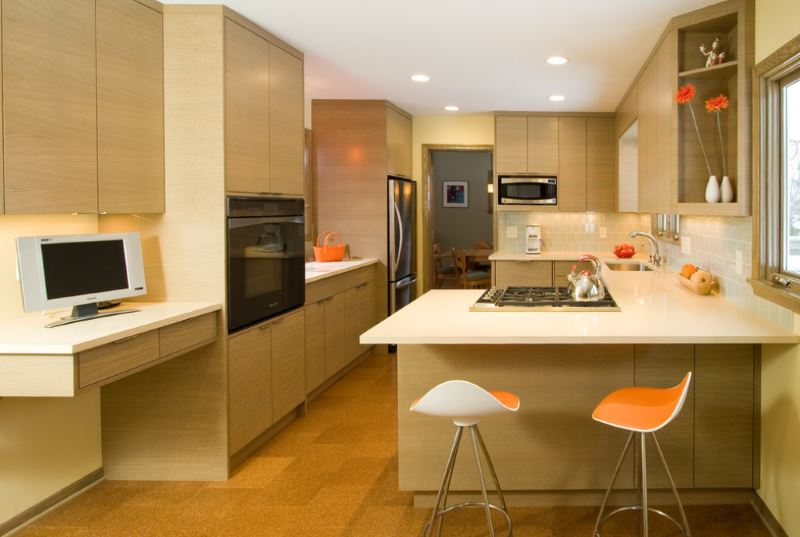 Cork flooring in a modern kitchen