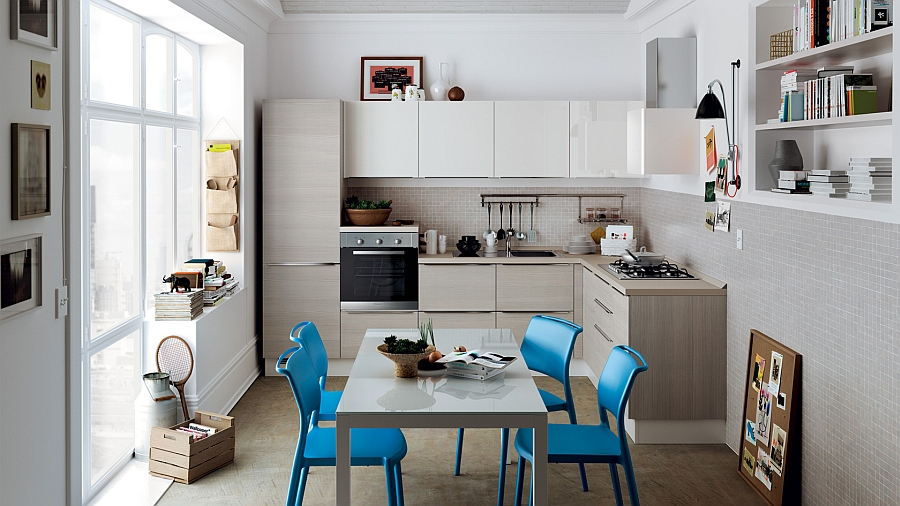 Corner kitchen composition with a stylish dining area
