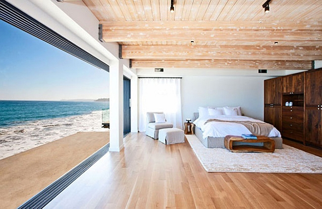 Cozy and relaxing bedroom with an ocean view