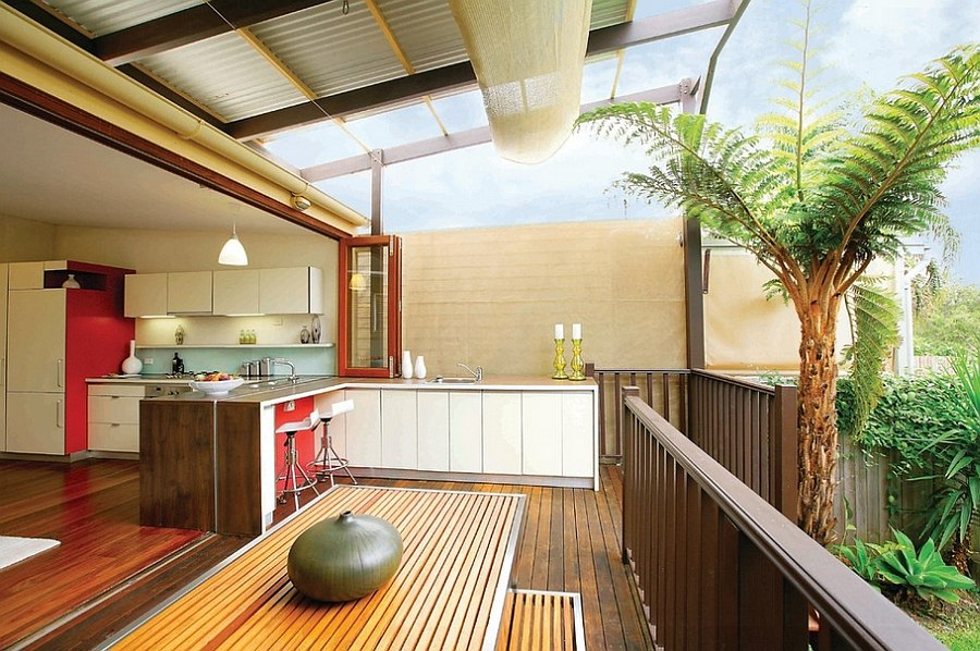Creative blend of indoor and outdoor kitchens