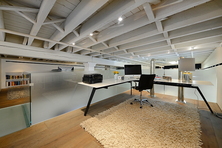 Creative home office design in the attic