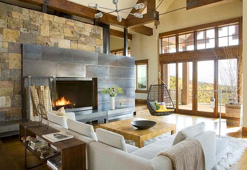 30 rustic living room ideas for a cozy organic home - Rustic apartment interior wrapped in contemporary and traditional accent ...