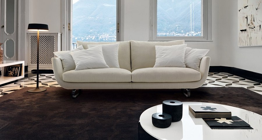 Curved sides of the Tuliss Sofa give it a unique silhouette