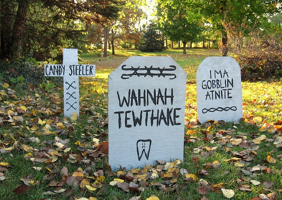 DIY Gravestones Idea for Halloween [From: Erin Lang Norris]