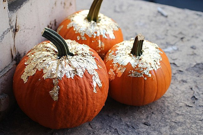 DIY gold leaf pumpkins